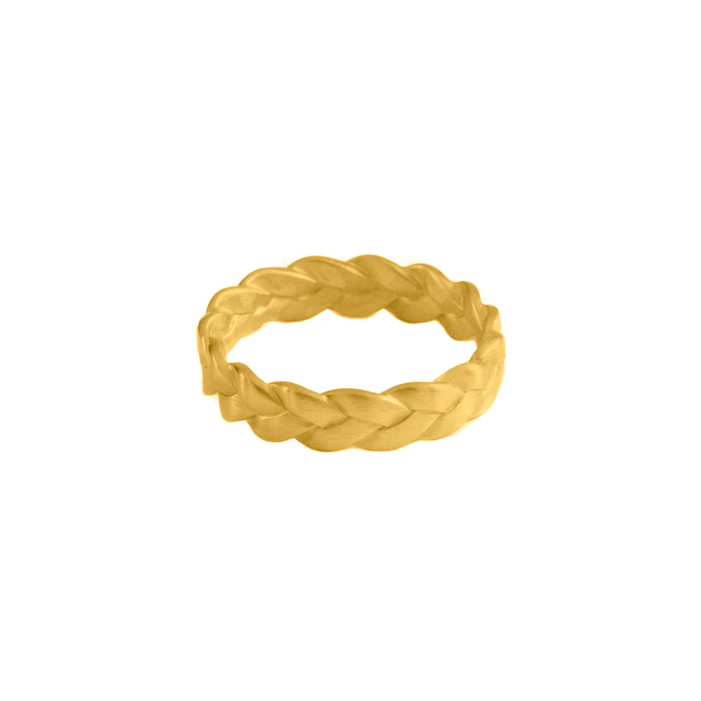 Classic Plait Ring in 18K Yellow Gold Matte