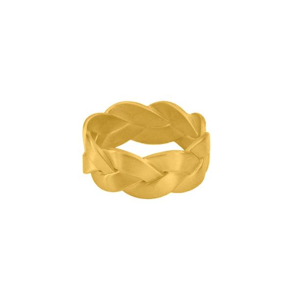 Ampio Plait Ring in 18K Yellow Gold Matte, 18K gold braided ring