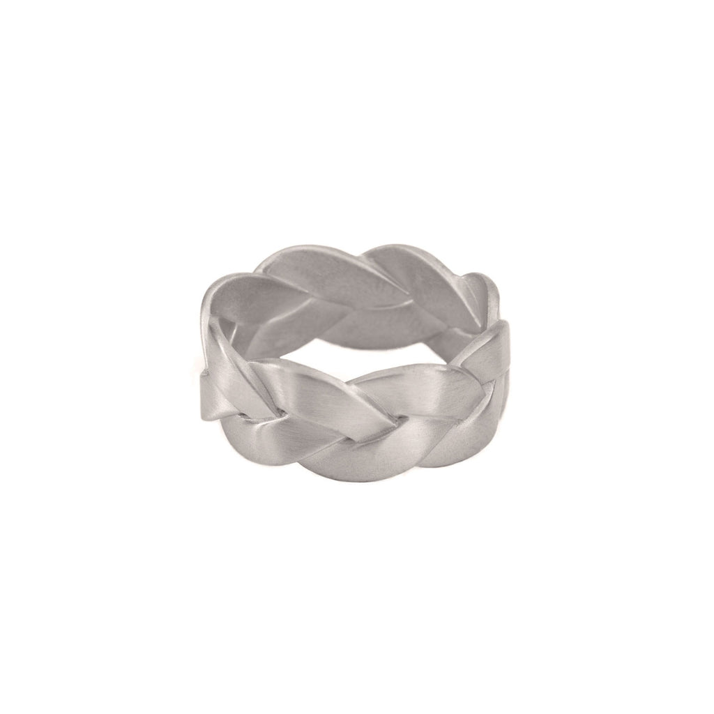 Ampio Plait Ring in Platinum Matte