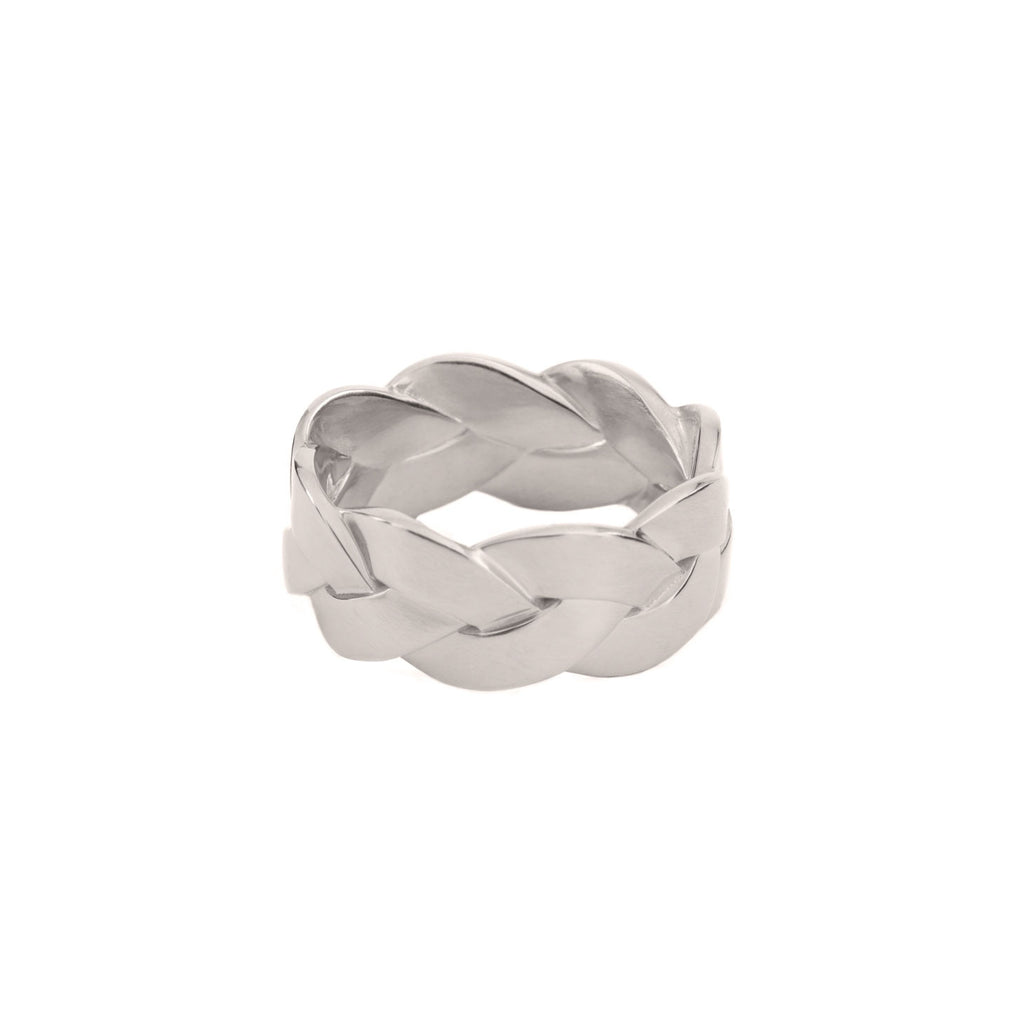 Ampio Plait Ring in Platinum Satin Polish