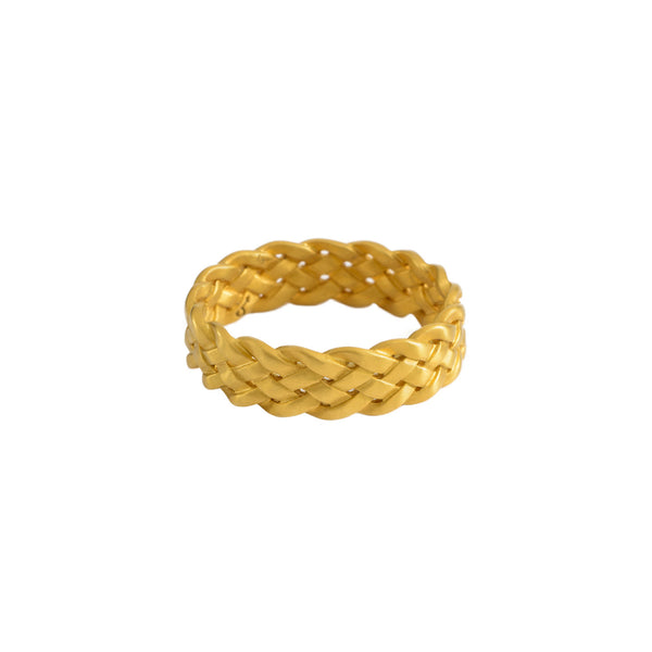 Cinque Plait Ring in 18K Yellow Gold Matte