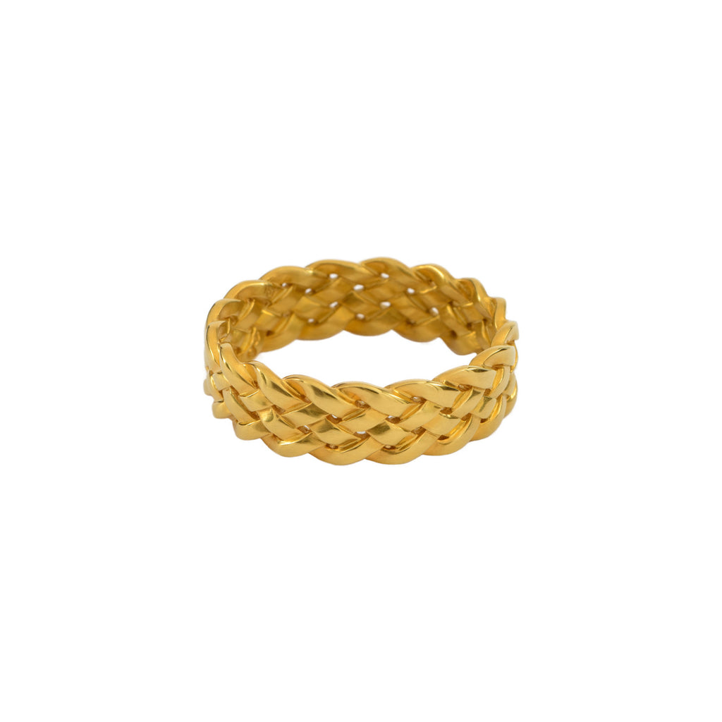 Cinque Plait Ring in 18K Yellow Gold Satin Polish