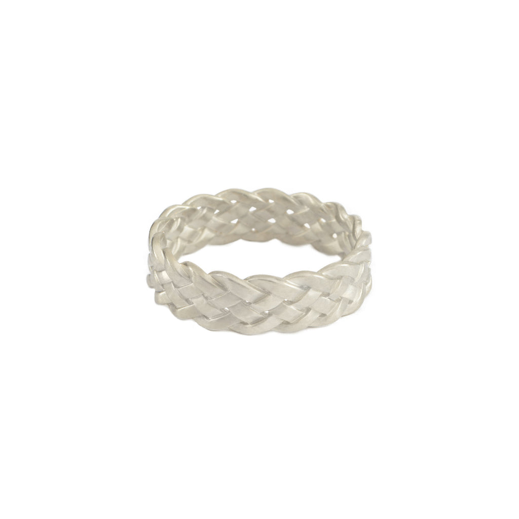 Cinque Plait Ring in Sterling Silver Matte