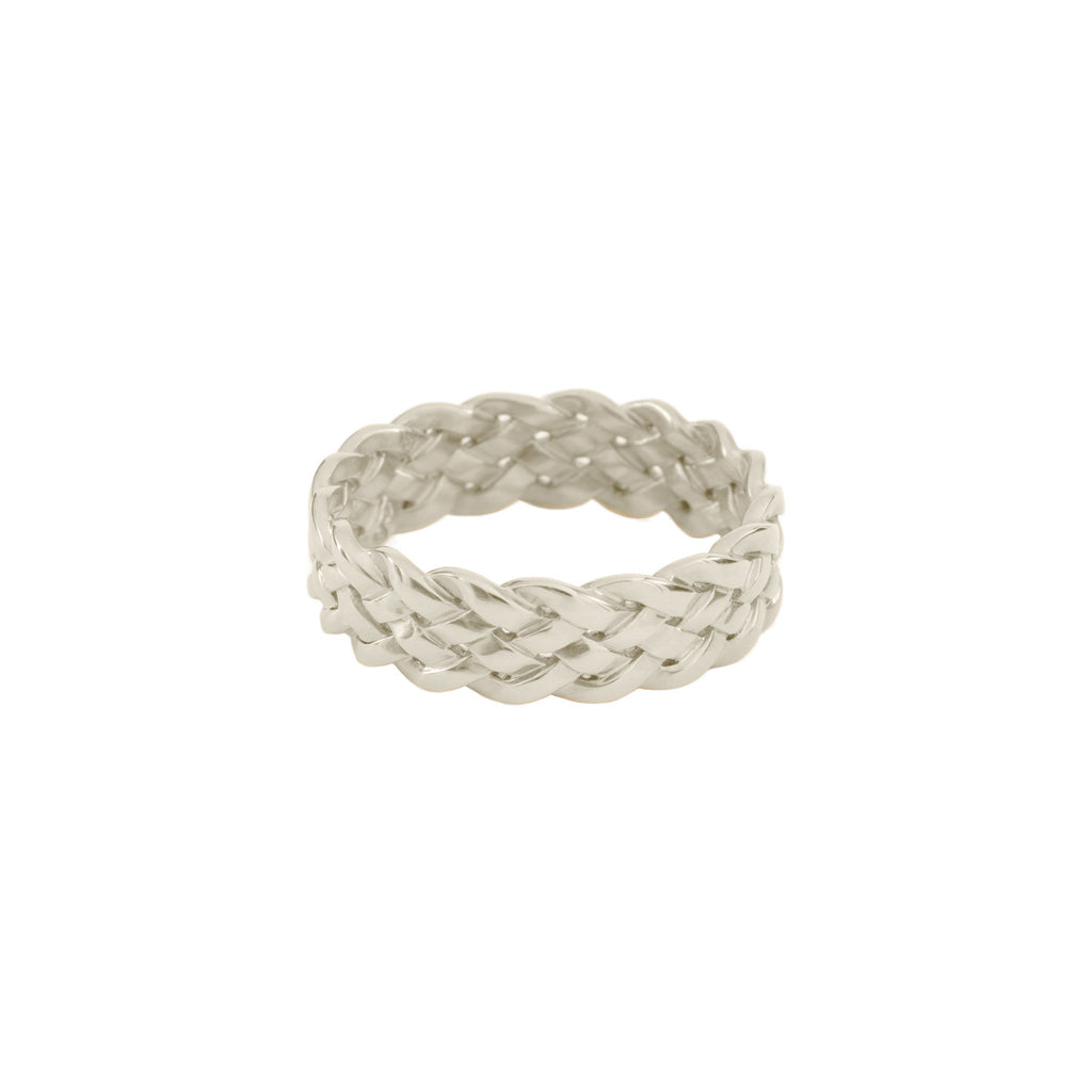 Cinque Plait Ring in Sterling Silver Satin Polish