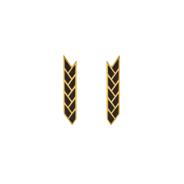 Osiris Stix Earrings in 18K Gold in Black