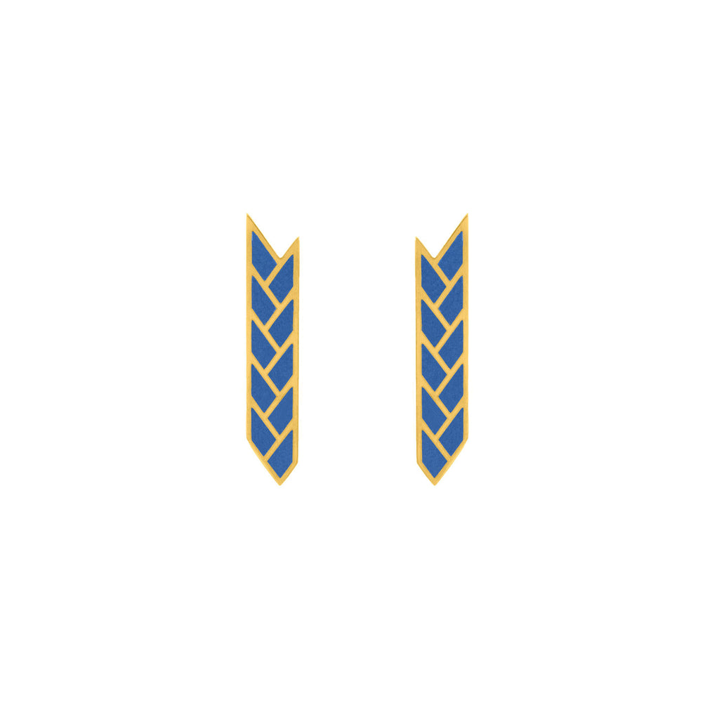Osiris Stix Earrings 18K Gold in Lapis Enamel