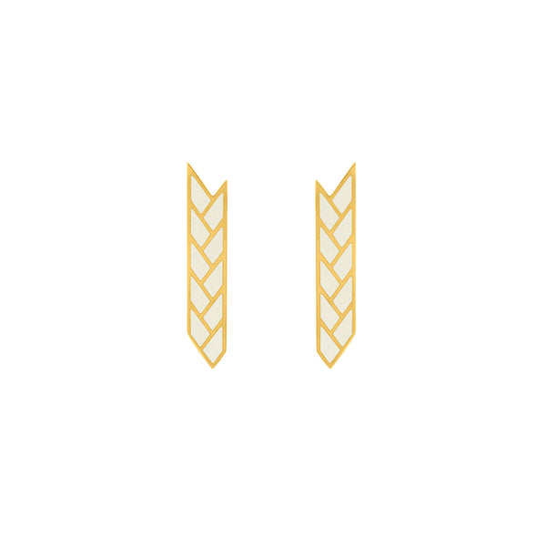 Osiris Stix 18K Gold Earrings in White Enamel