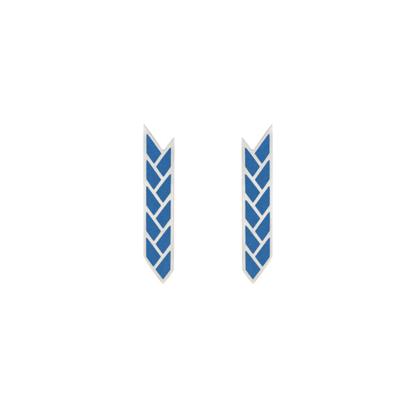 Osiris Stix Earrings Sterling Silver in Lapis Enamel