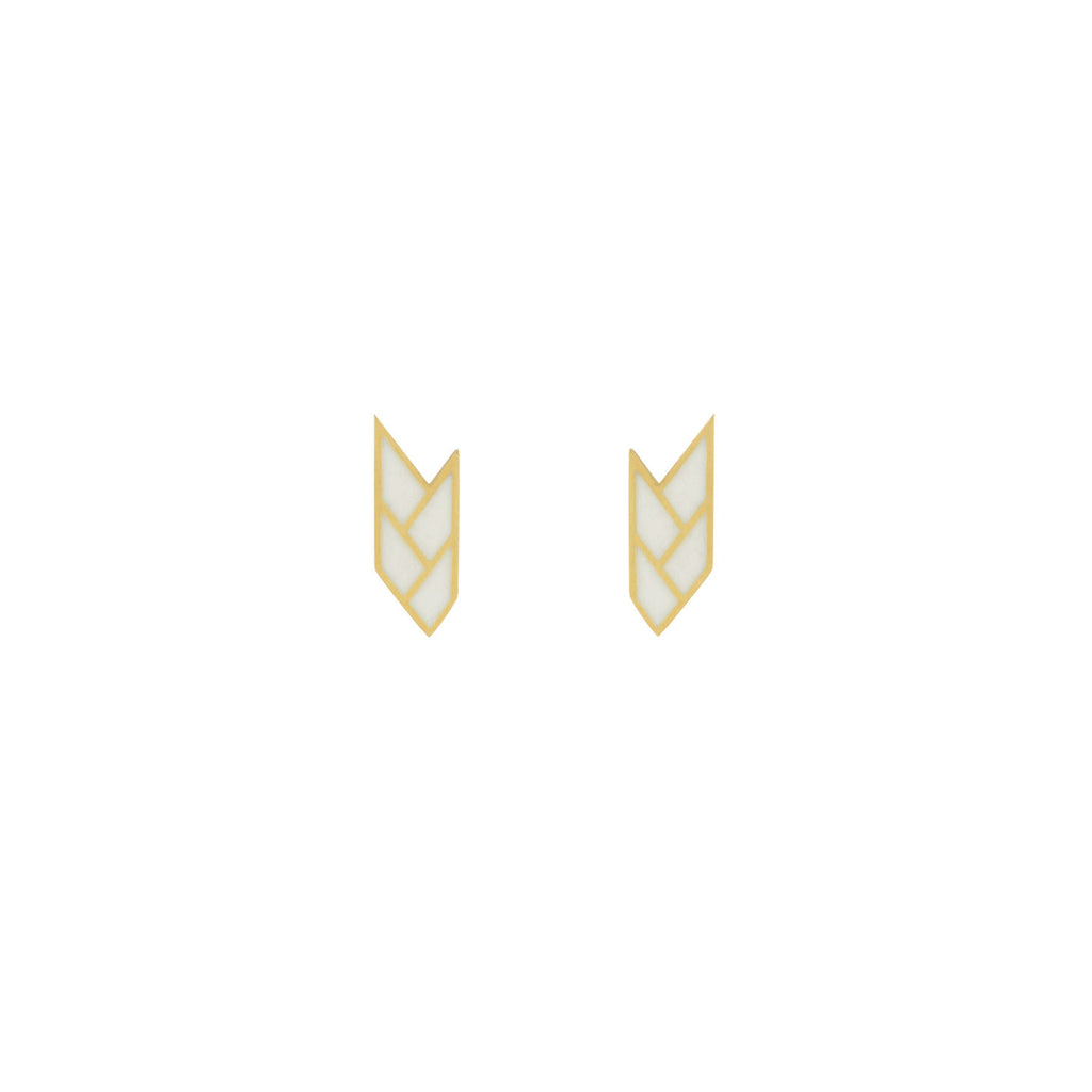 Osiris Stud 18K Gold in White