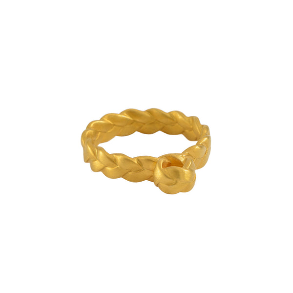 Drop Plait Ring in 18K Yellow Gold Matte