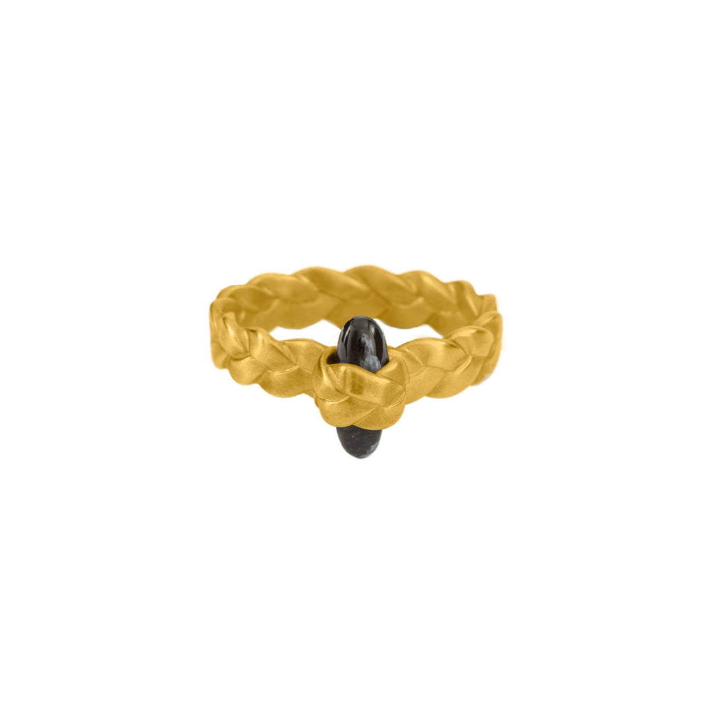 Drop Plait Ring with Obsidian Bullet Cabochon in 18K Yellow Gold