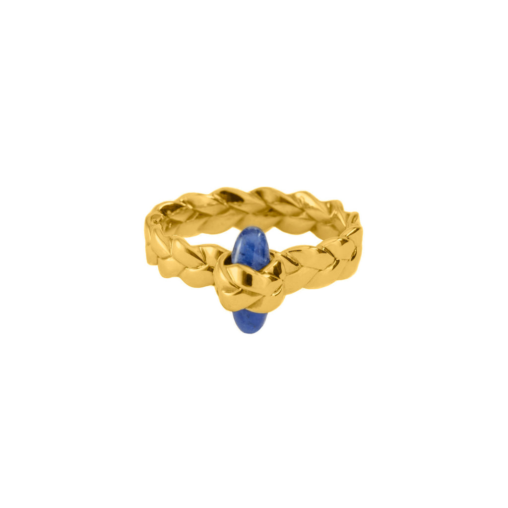 Drop Plait Ring with Bullet Cabochon in Sodalite 18K Yellow Gold Satin Polish