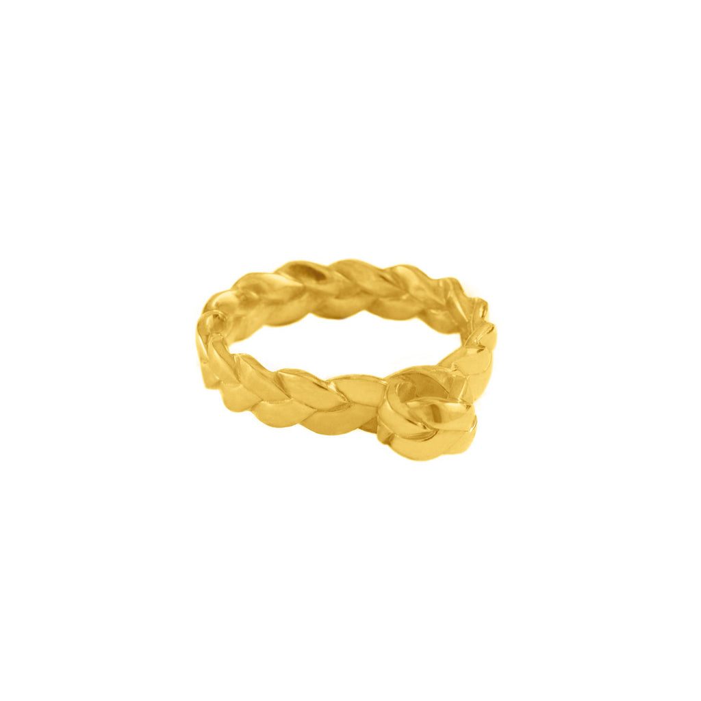 Drop Plait Ring in 18K Yellow Gold Satin Polish