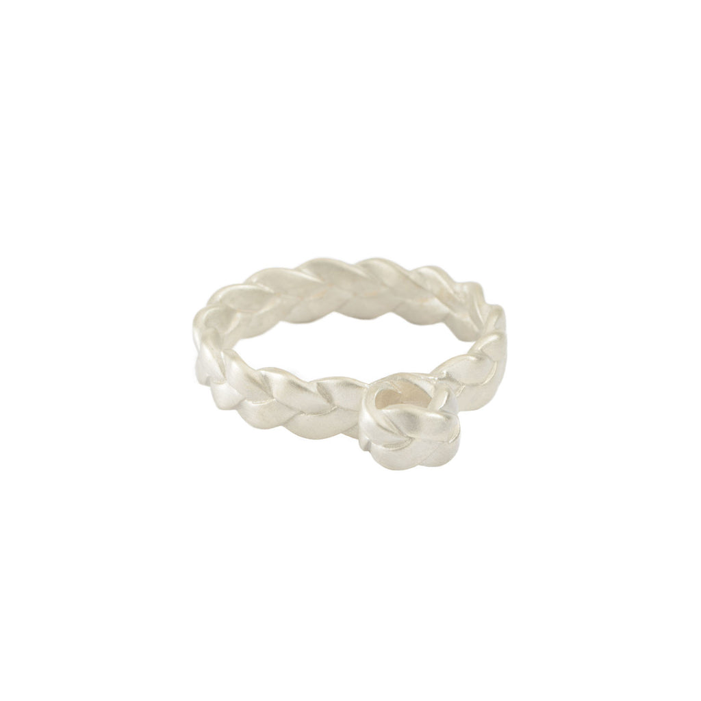 Drop Plait Ring in Sterling Silver Matte