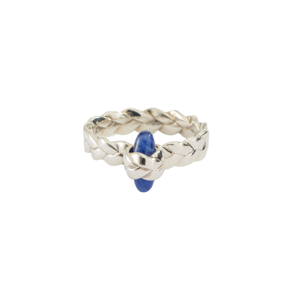 Drop Plait Ring with Bullet Cabochon in Sodalite Sterling Silver Satin Polish