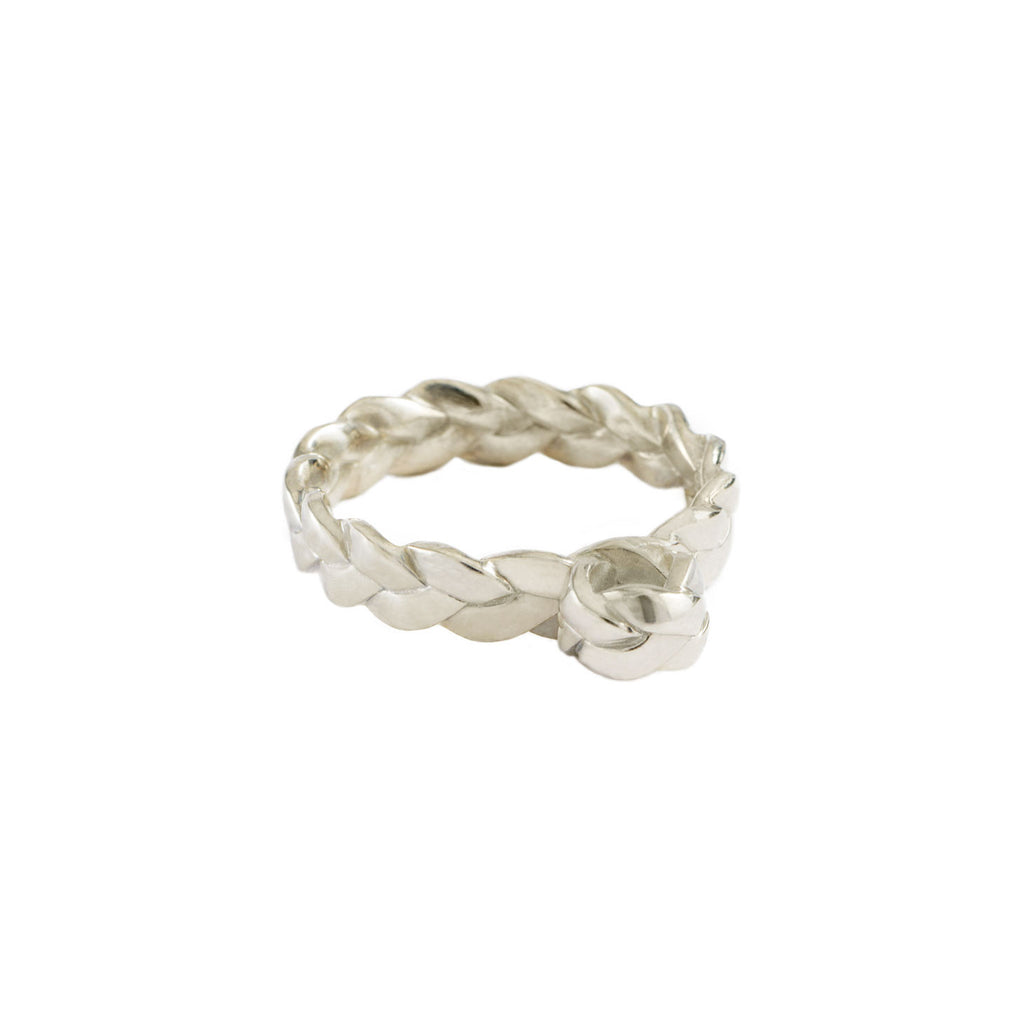 Drop Plait Ring in Sterling Silver Satin Polish