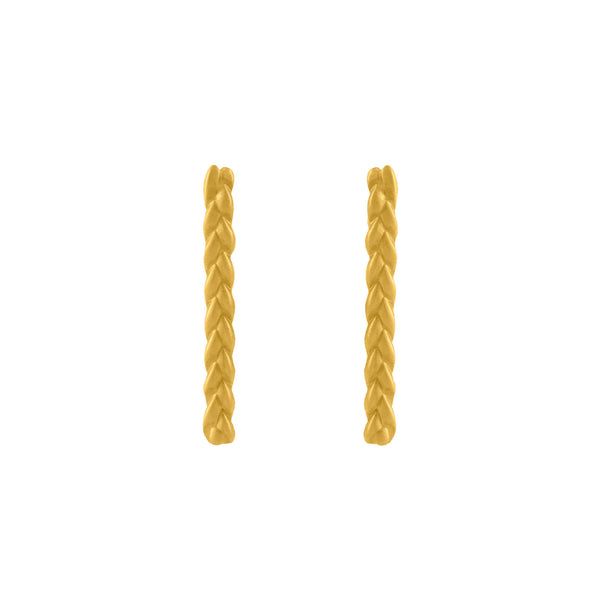 Classic Plait Stix Earrings in 18K Yellow Gold Matte