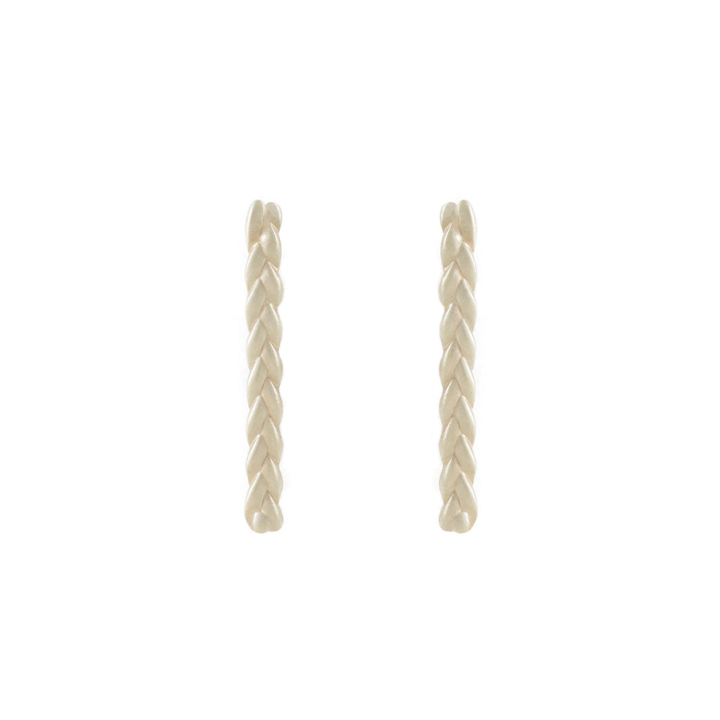 Classic Plait Stix Earrings in Sterling Silver Matte