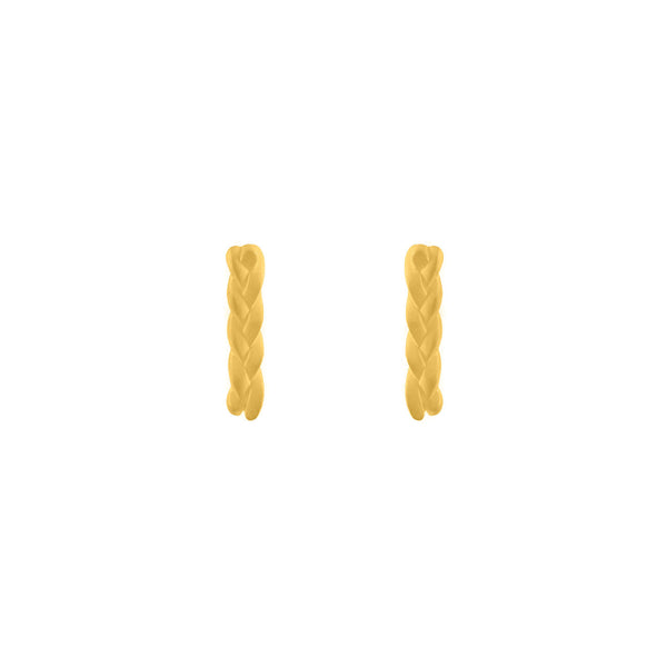 Plait Nugget Stud Earrings in 18K Yellow Gold Matte