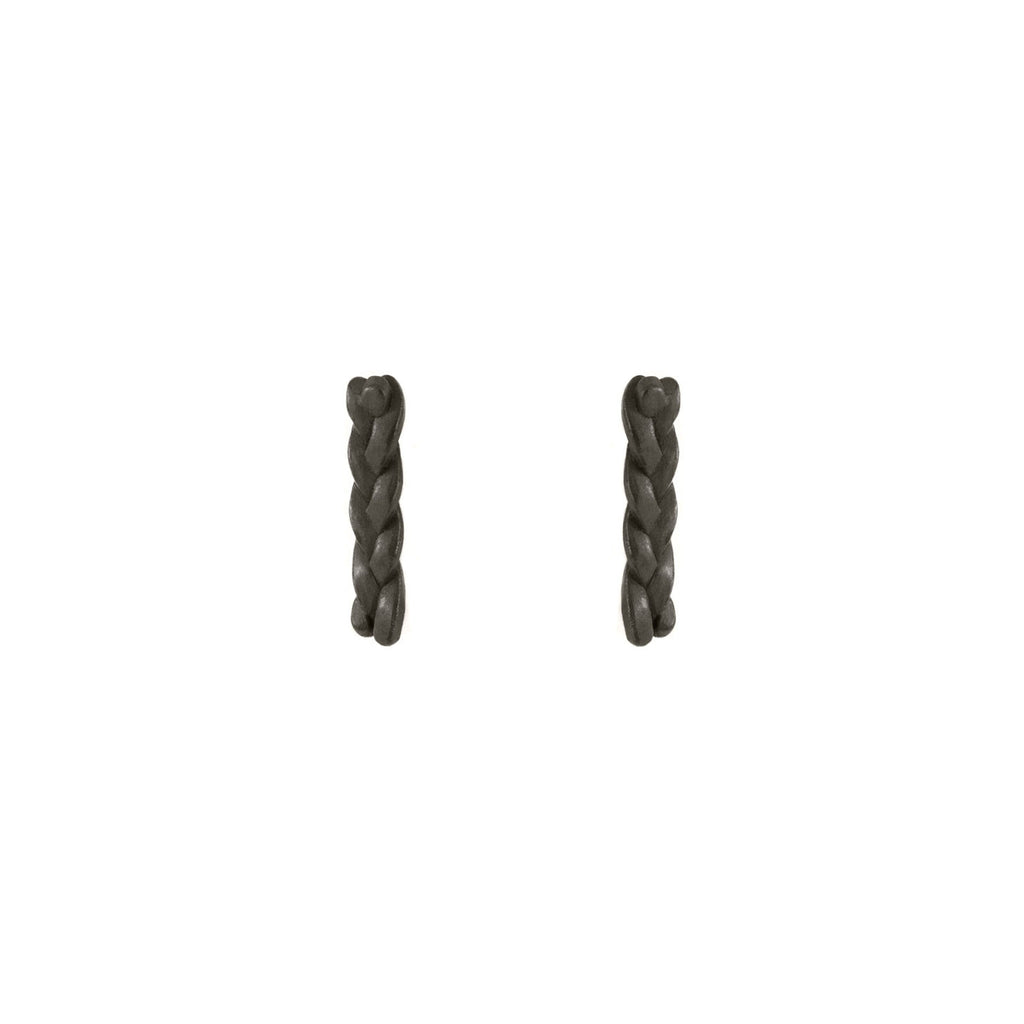 Plait Nugget Stud Earrings in Sterling Silver Black Patina