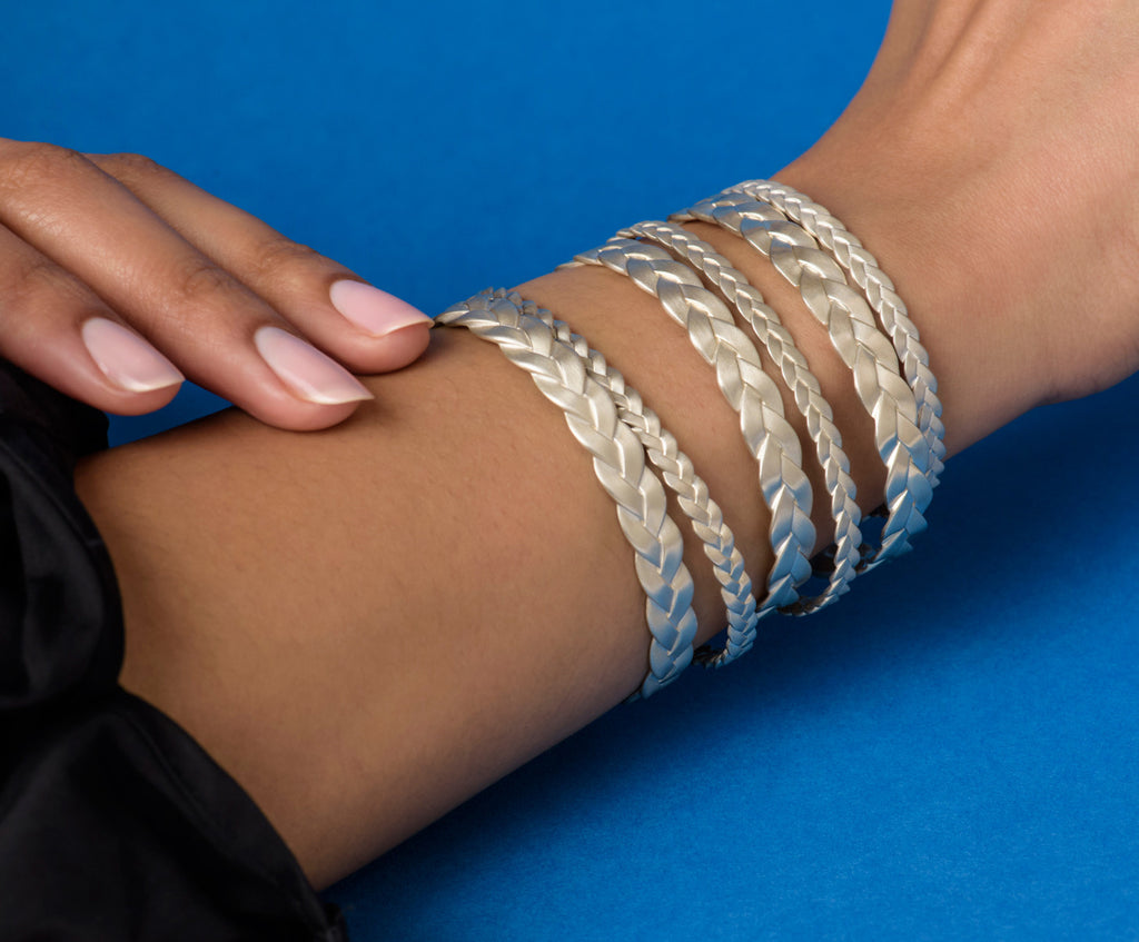 Sterling Silver Classic Plait & Ampio Cuffs Stacked