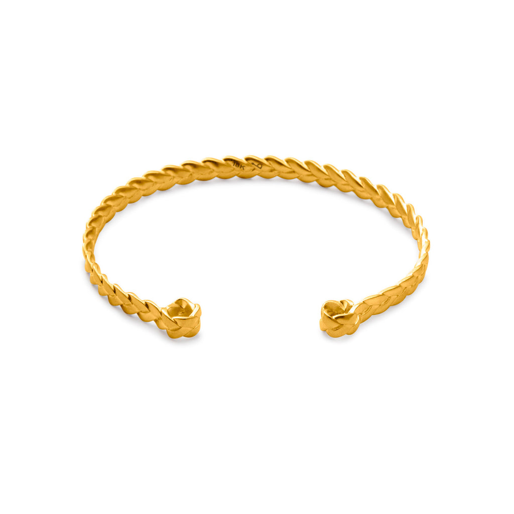 18K gold Classic Plait Cuff in satin polish
