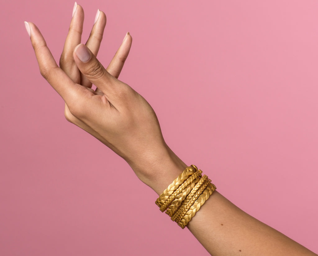 18K Gold Classic Plait & Ampio Cuffs Stacked