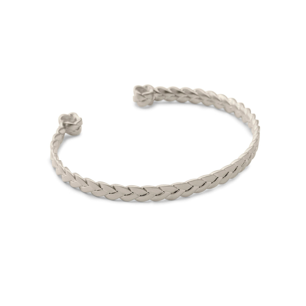 Sterling Silver Classic Plait Cuff in satin polish detail