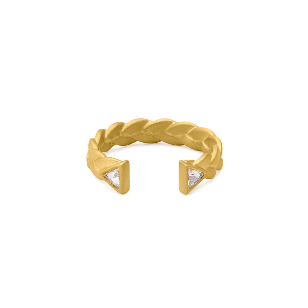 Dieci Plait Open Cuff Diamond Ring in 18k Gold