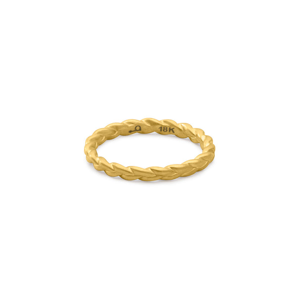 Sottile Plait Ring in matte 18k gold