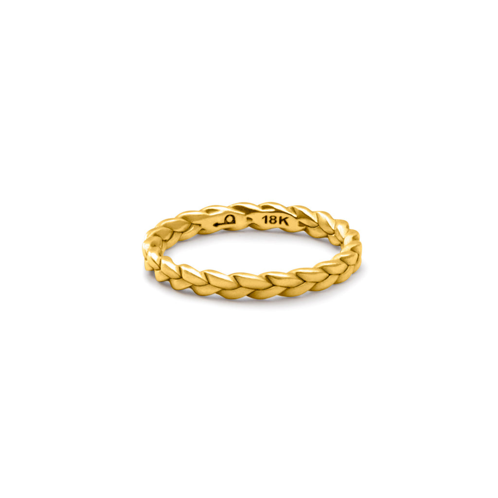 Sottile Plait Ring in satin polished 18k gold