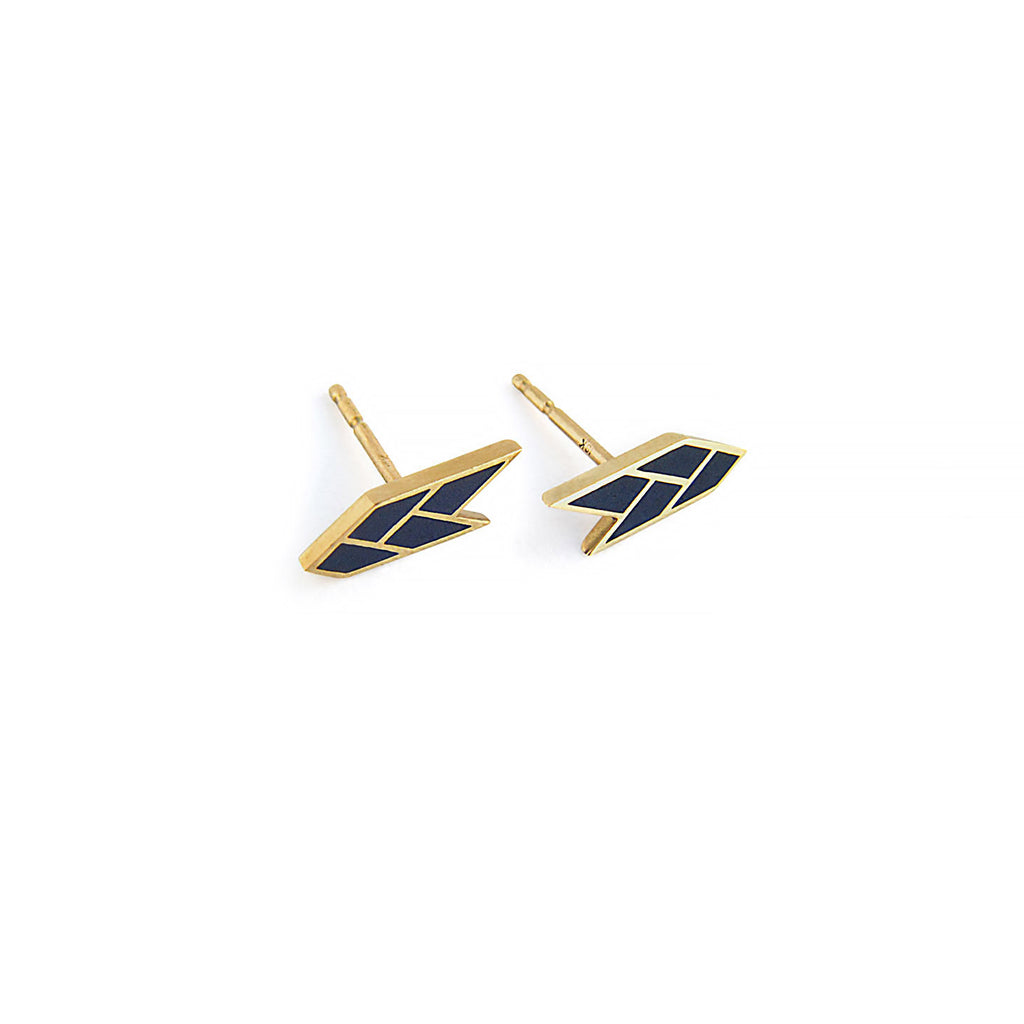 Osiris Stud 18K Gold in Egyptian Blue Side & Back Detail