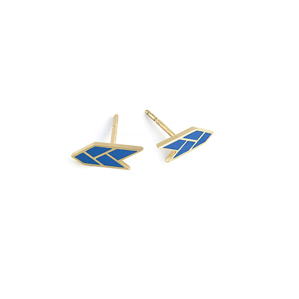 Osiris Stud 18K Gold in Lapis Side Detail