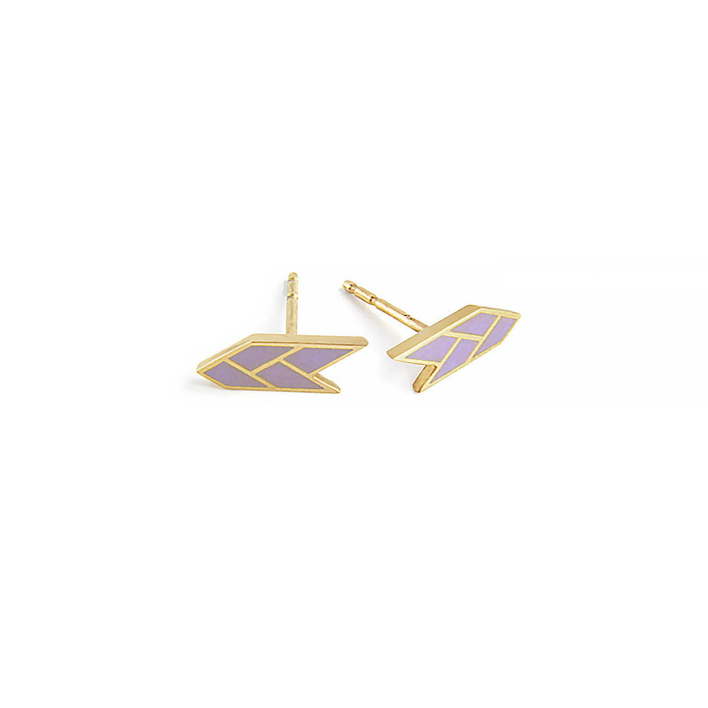Osiris Stud 18K Gold in Mauve Side Detail