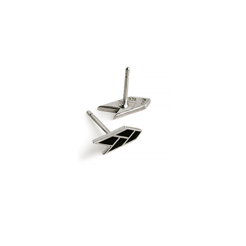 Osiris Stud Sterling Silver in Black Side & Back Detail