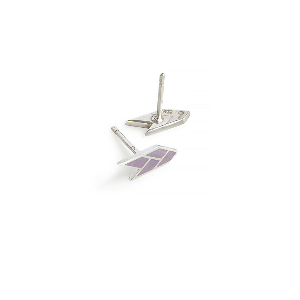 Osiris Stud Sterling Silver in Mauve Side & Back Detail