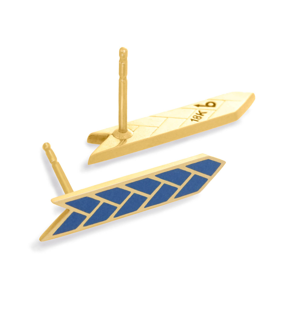 Osiris Stix Earrings 18K Gold in Lapis Enamel Detail