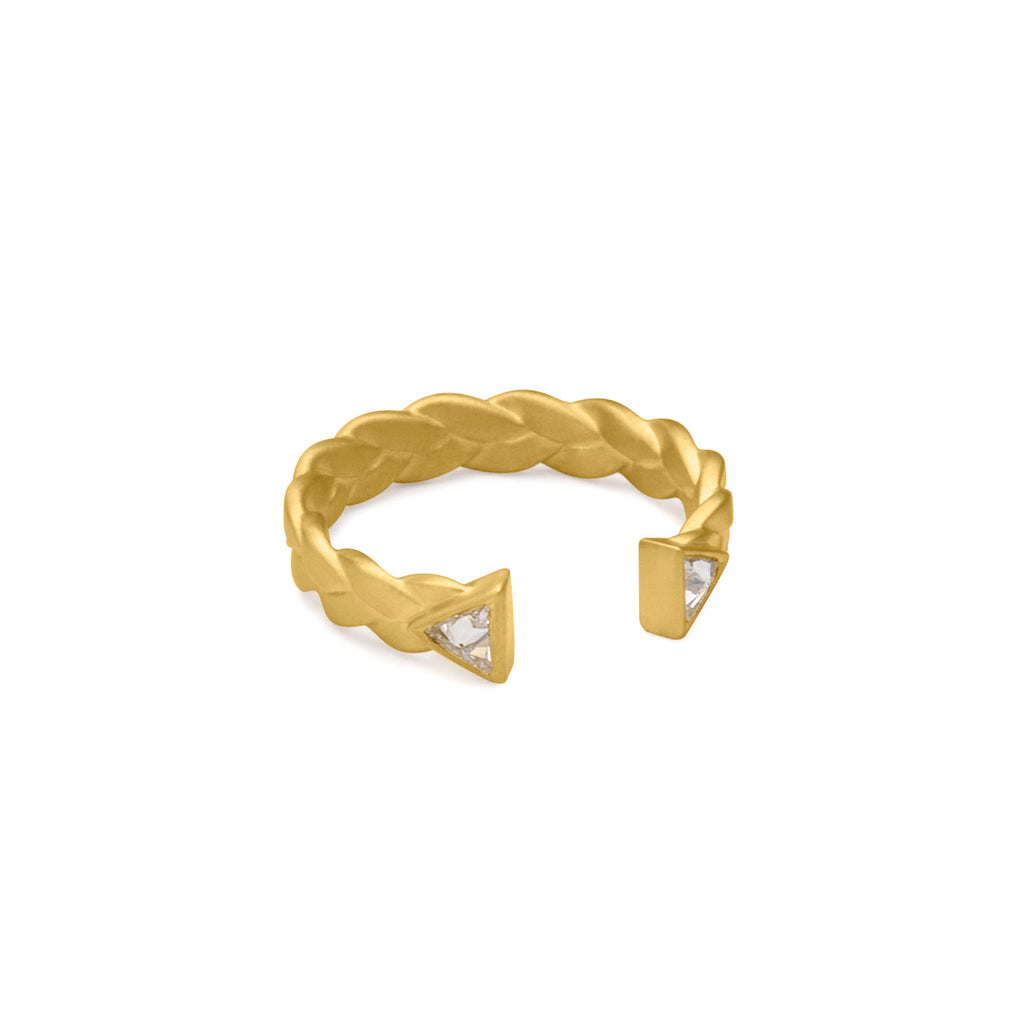 Dieci Plait Open Cuff Diamond Ring in 18k Gold Detail