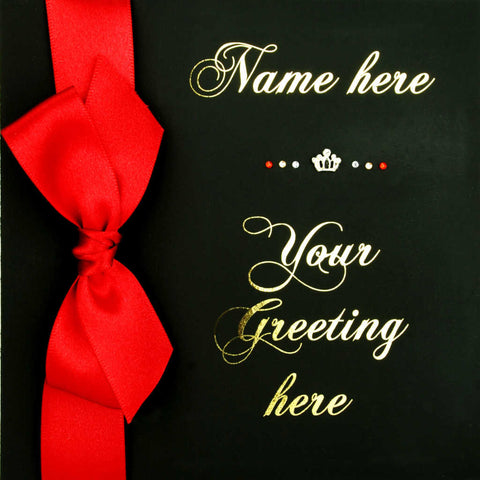 Personalised greeting card luxury matt black scarlet red satin ribbon metallic gold script