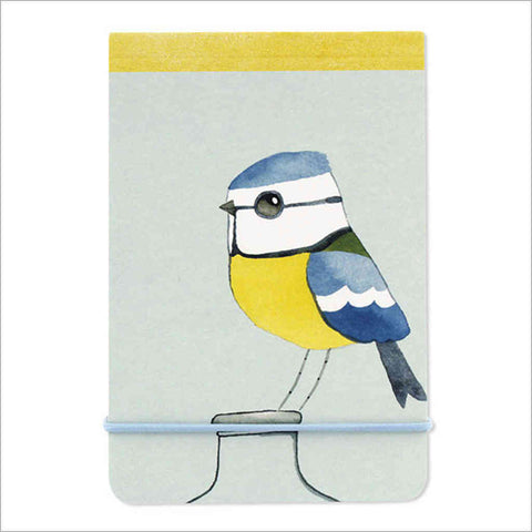 A7 notebook with watercolour blue tit illustration by artist Matt Sewell