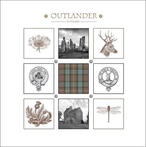 Outlander-inspired stationery greeting card, Clan Fraser Mackenzie Lallybroch Calanais Jacobite tartan Made in Scotland.
