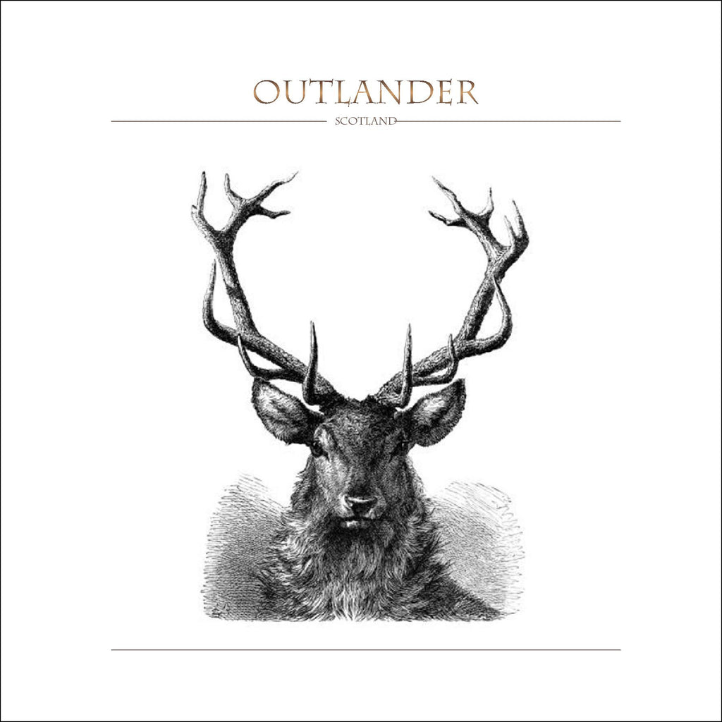 Outlander-inspired greeting card featuring stags head illustration. Made in Scotland.
