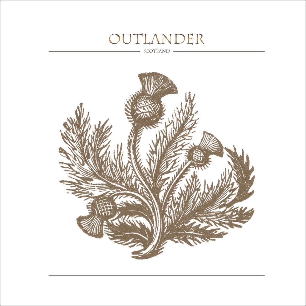 Outlander-inspired greeting card featuring thistle illustration. Made in Scotland.