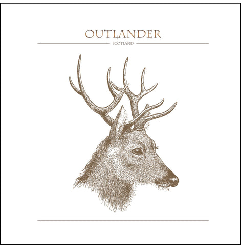 Outlander-inspired greeting card featuring stag profile illustration. Made in Scotland.