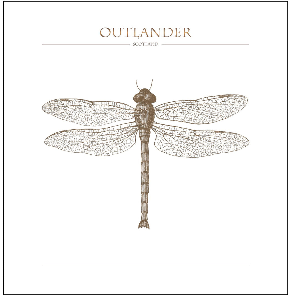 Outlander-inspired greeting card featuring dragonfly illustration. Made in Scotland.