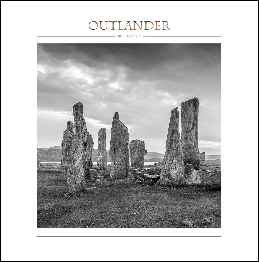 Outlander-inspired greeting card featuring Calanais Standing Stones image. Made in Scotland.Outlander-inspired greeting card featuring Calanais Standing Stones image. Made in Scotland.