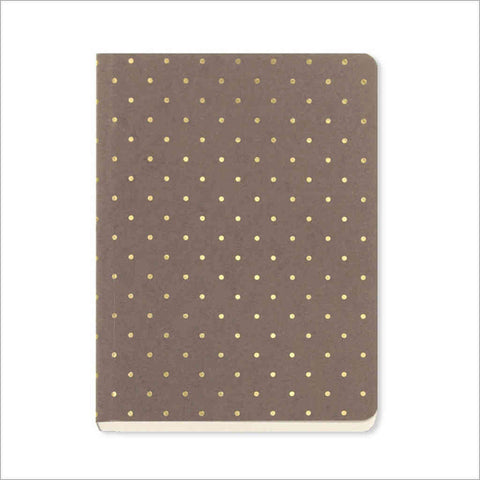 A6 notebook with taupe cover decorated in mini gold polka dots by GO Stationery