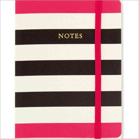 Black, white and cerise striped notebook A6 GO Stationery