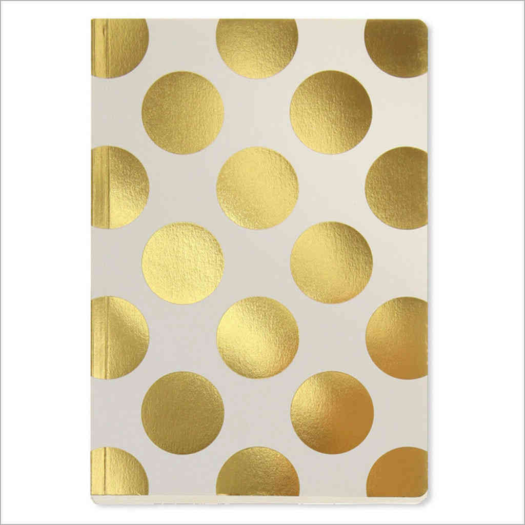 Gold polka dot on Cream A5 Notebook by GO Stationery