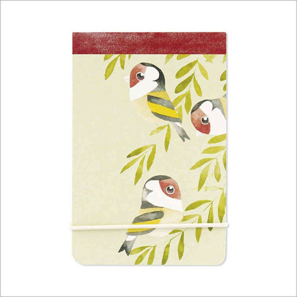 Pocket-sized A7 notebook with watercolour goldfinches illustration by artist Matt Sewell